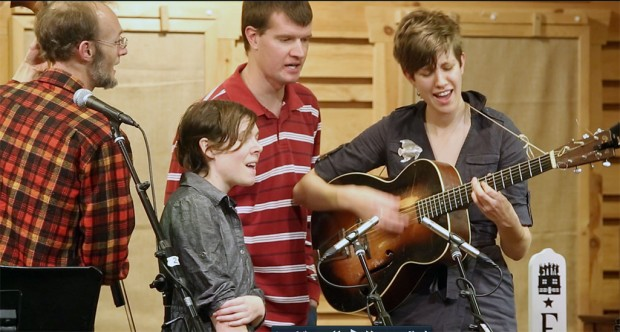 Elizabeth LaPrelle, Stuart Scales and Ann Roberts-Gevalt perform at the Floyd Radio Show.