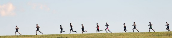 Boys varsity runners glide along a ridge at Chantilly Farm Wednesday afternoon. (Photos by Doug Thompson)