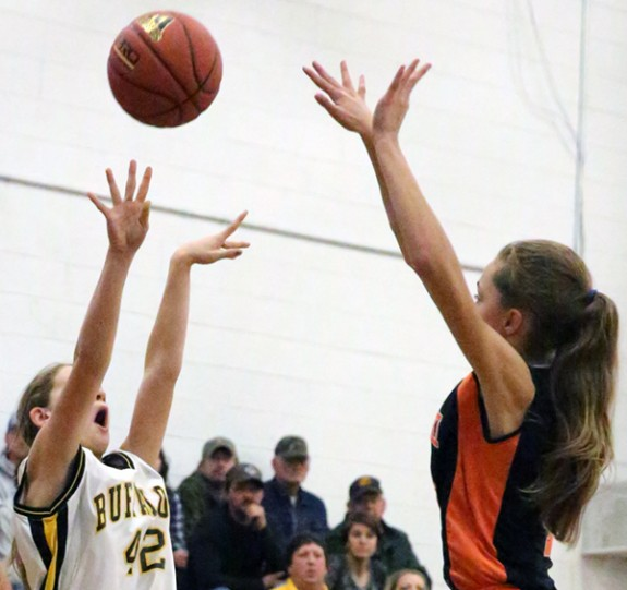 Middle School Lady Buffs score early in season opener Monday. (Photos by Doug Thompson)