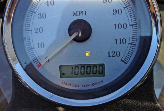 The odometer showed reaching the 100,00 mile park on my Harley-Davidson.