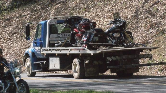 Three motorcyclists removed from scene of a crash on the Blue Ridge Parkway on Sunday. (Photo by Tim Saunders)
