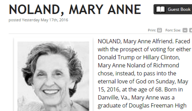 Obituary published in The Richmond Times-Disptach.