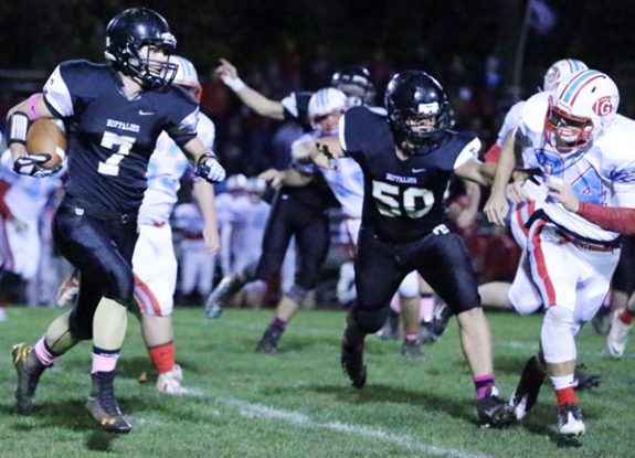A ground-gaining run by Joshua Bary provided one of the few highlights for the Floyd team in a 47-0 loss.