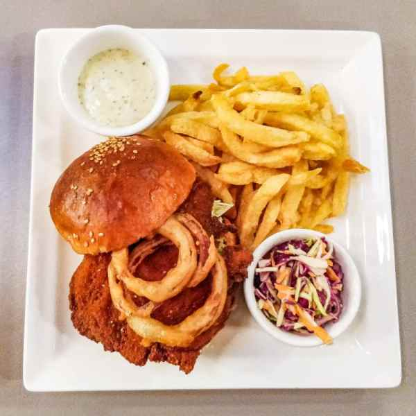 Fried Chicken Burger and Chips