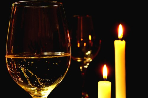 Candle lit dinner with wine