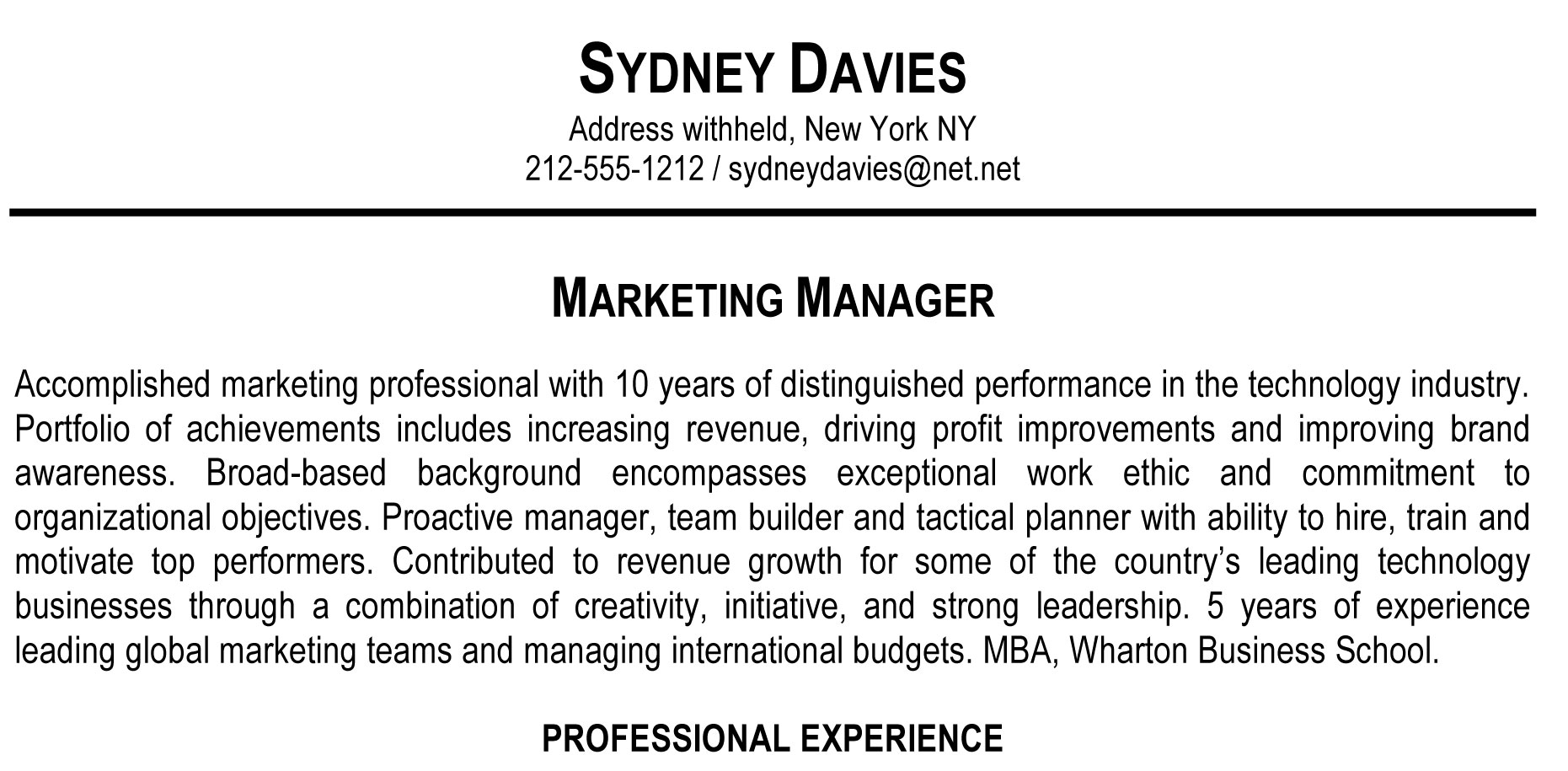 resume profile samples - Resume Example Profile