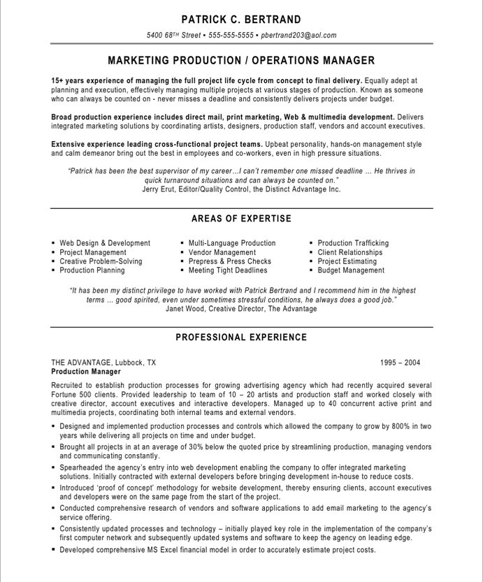 Production project manager resume