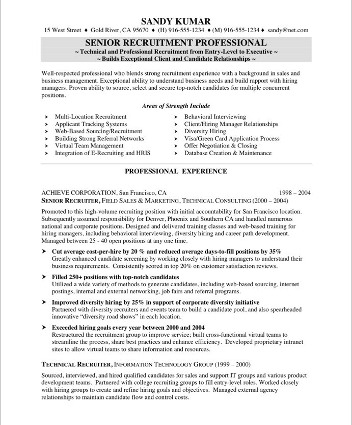 Hr Resume Example. Hr Recruiter Free Resume Samples Blue Sky
