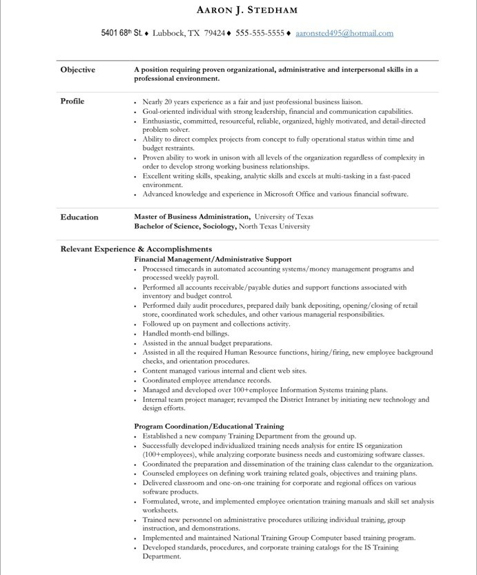 free sample administrative assistant resume template