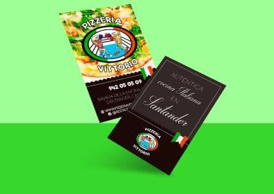 Tarjetas de visita Pizzería Vittorio Santander
