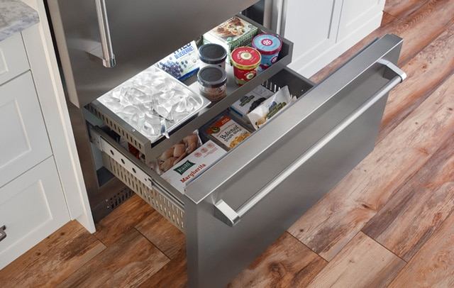 The easy to organize freezer on the Built-in Refrigerator from BlueStar