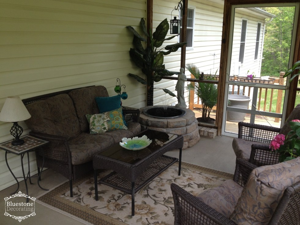 Screened porch with fountain by Crystal Ortiz, Portfolio, Bluestone Decorating