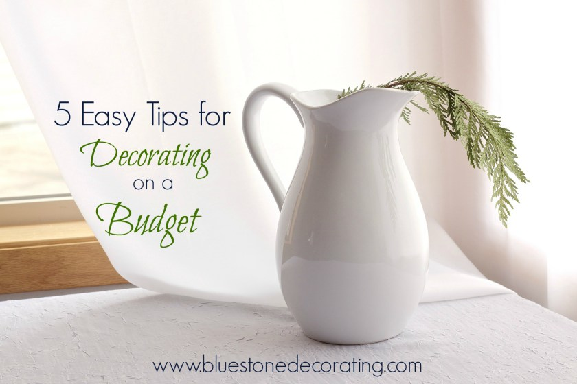 White ironstone pitcher. Article 5 Easy Tips for Decorating on a Budget by Crystal Ortiz, Bluestone Decorating