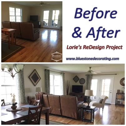 Before & After - ReDesign Project by Crystal Ortiz, Bluestone Decorating, Harrisonburg, VA