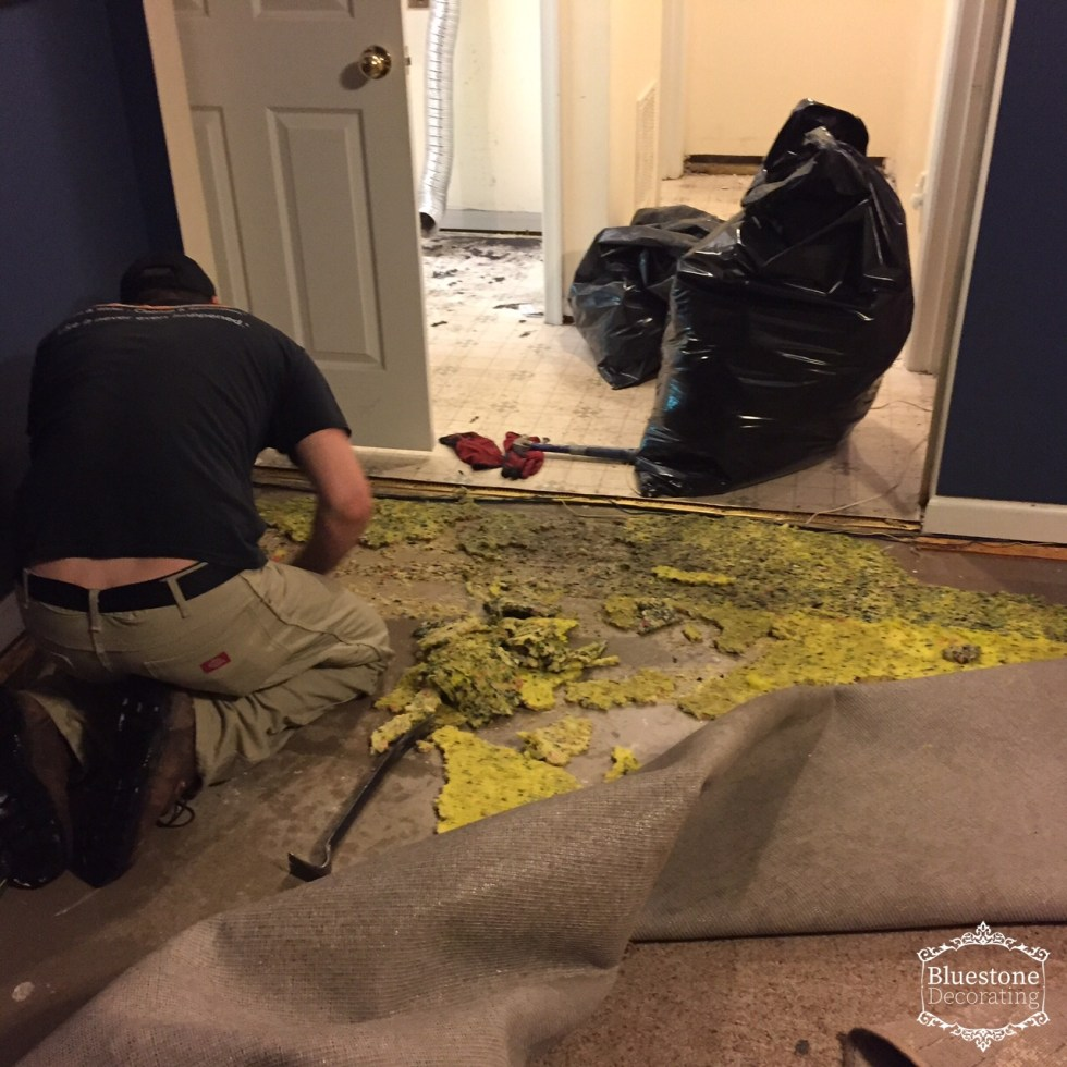 The ServPro crew working to clean up the washing machine flood damage.