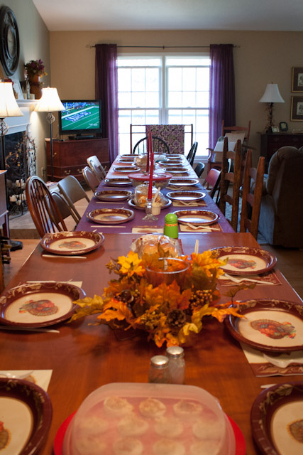 Now set up for Thanksgiving, this dining table was extended from a table for 6 to a table for 18.