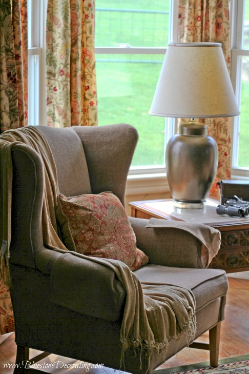 After: My client's Wingback chairs were previously in an upstairs bedroom, now they make a wonderful addition to the living room seating.
