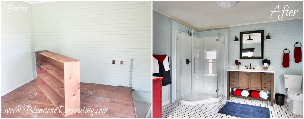 Before & After: Farmhouse Bathroom by Bluestone Decorating