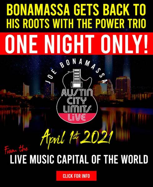 Review ticket for Joe Bonamassa's Austin City Limits livestream concert on April 1st