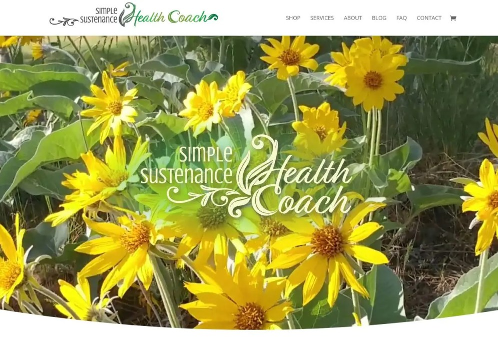 simple sustenance health logo and webpage