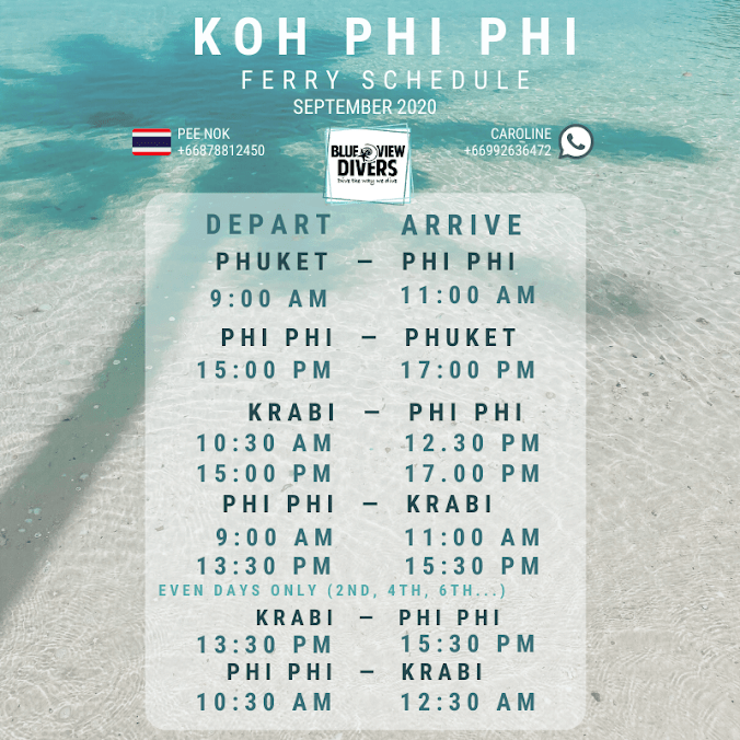 koh phi phi ferry timetable boat schedule