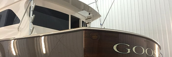 "Viking 64 Convertible ""Goose"" Gets Paint and Teak Refinish"