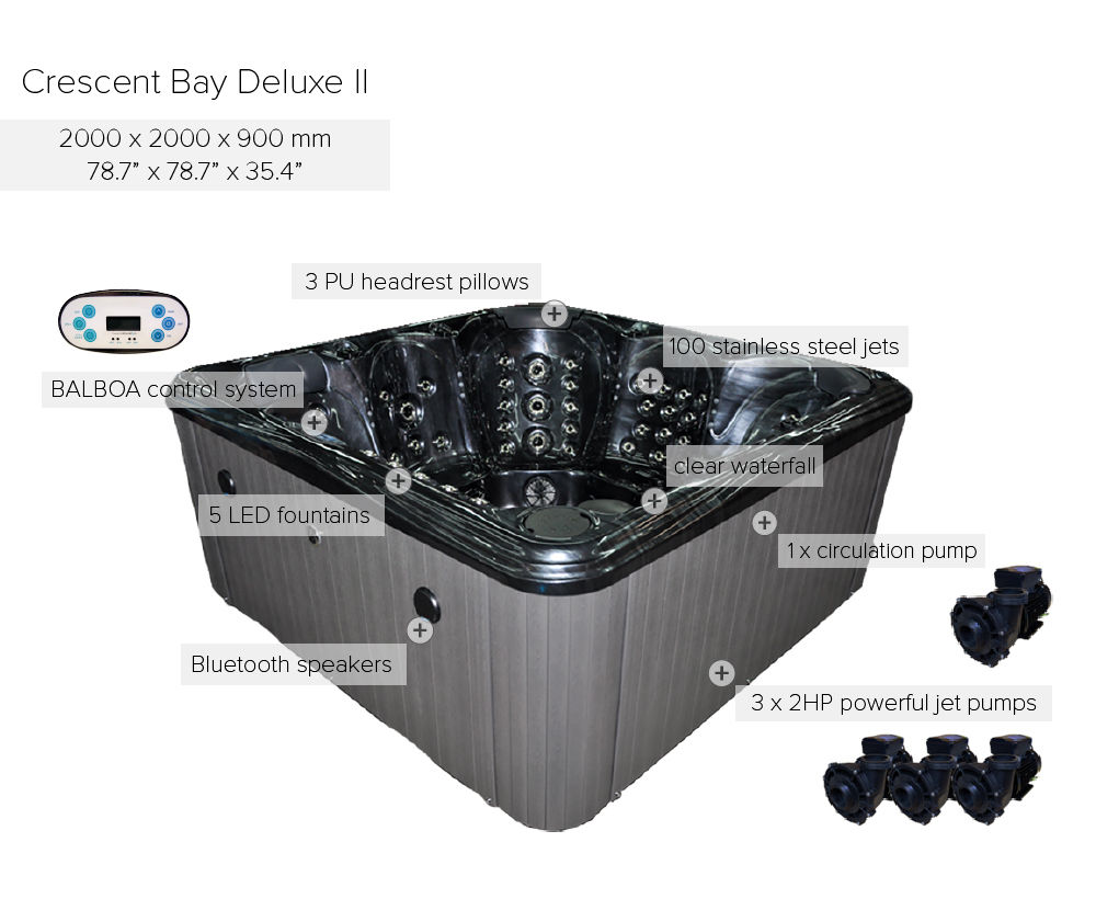 Crescent Bay Deluxe Ii Hot Tubblue Whale Spa Cost Of Electrical Wiring For Tub Blue Spacrescent Pump
