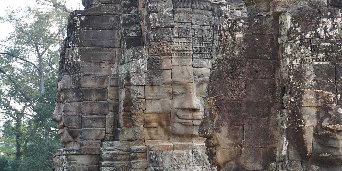 Massive Buddha heads at Bayon