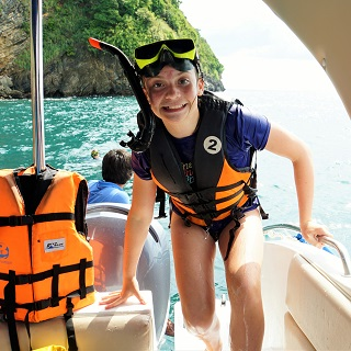 Sophie comes back after snorkelling with Nemo