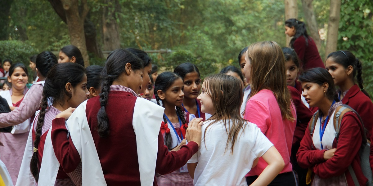 Grade nine girls swarm Sophie and Claire in Lodi Gardens