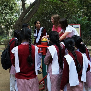 Sophie and Claire chat with girls in Lodi Gardens