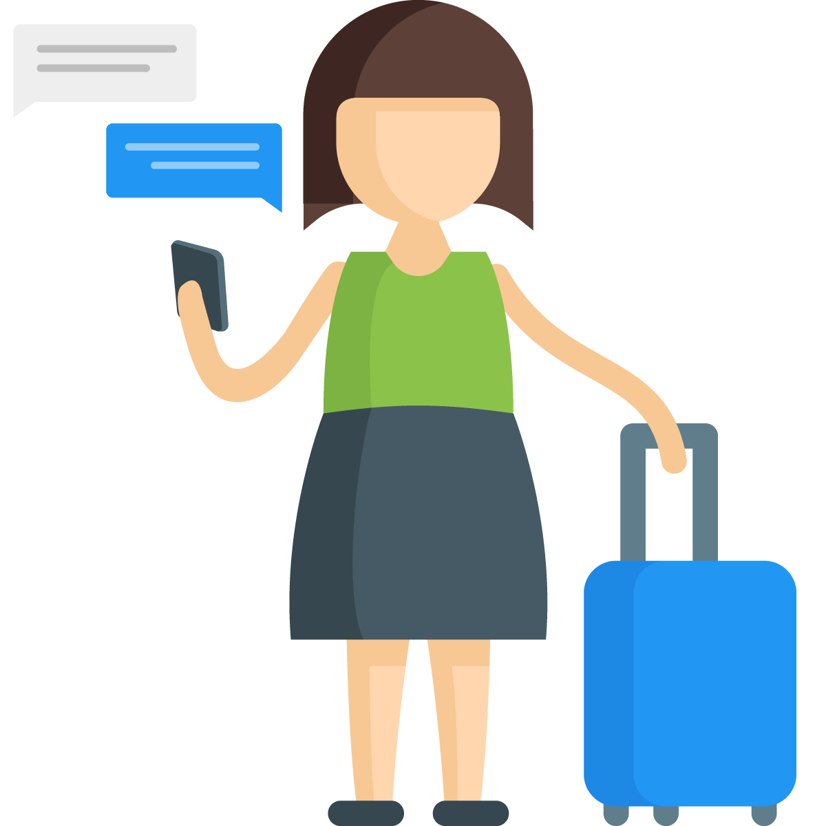 BluIP UC1 Connect - Traveling Woman on Phone