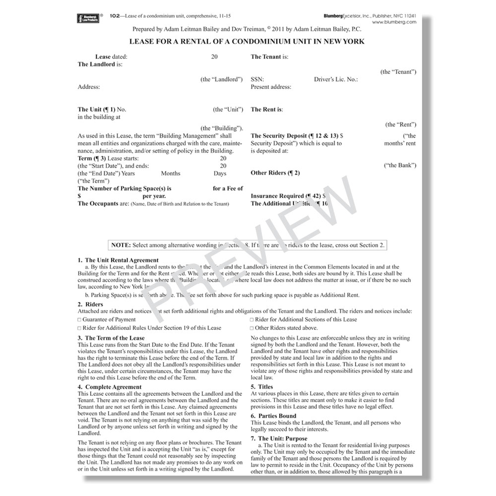 Blumberg Lease New York Residential Lease Forms