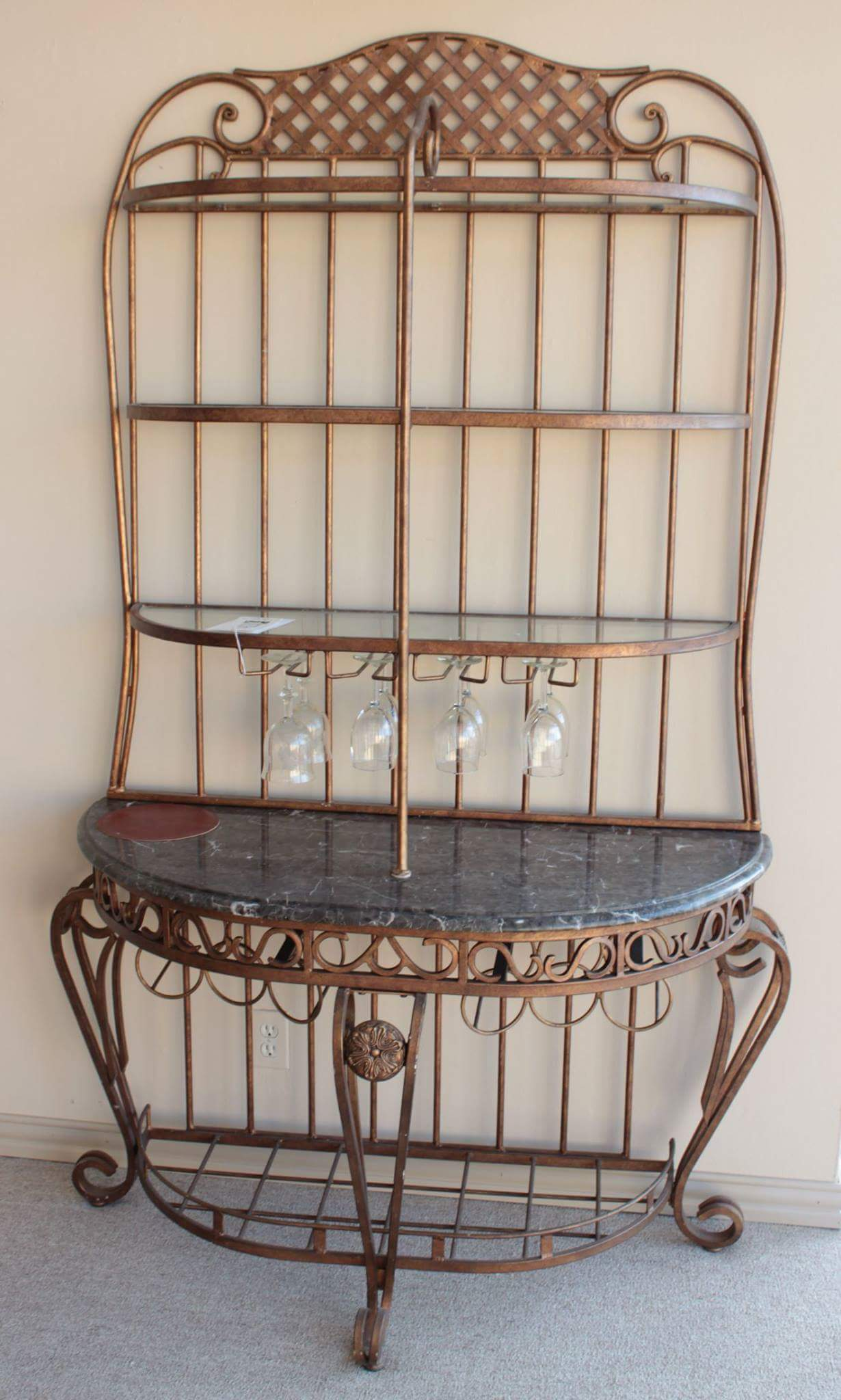 iron and marble baker s rack