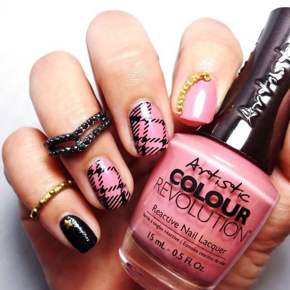 Glam Pink Black Artistic Nail Design