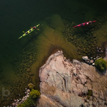 Aerial Photo of Sea Kayak Camping Trip To Remote Wilderness Island
