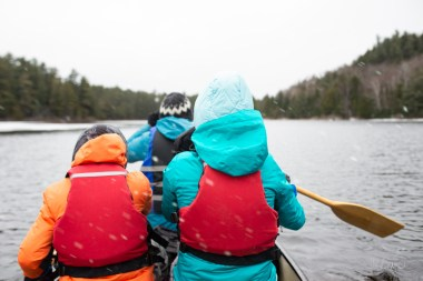 Family Spring Red Canoe Trip Backcountry Wilderness Paddling Sno
