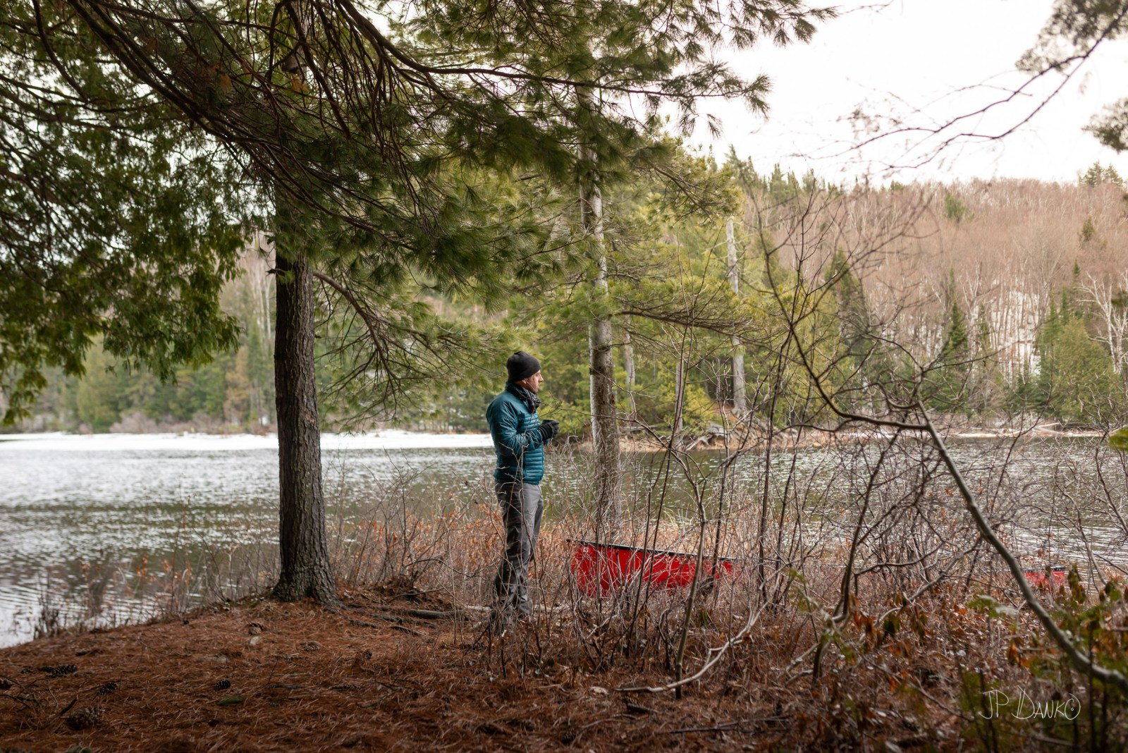 Man Coffee Morning Spring Red Canoe Trip Backcountry Wilderness