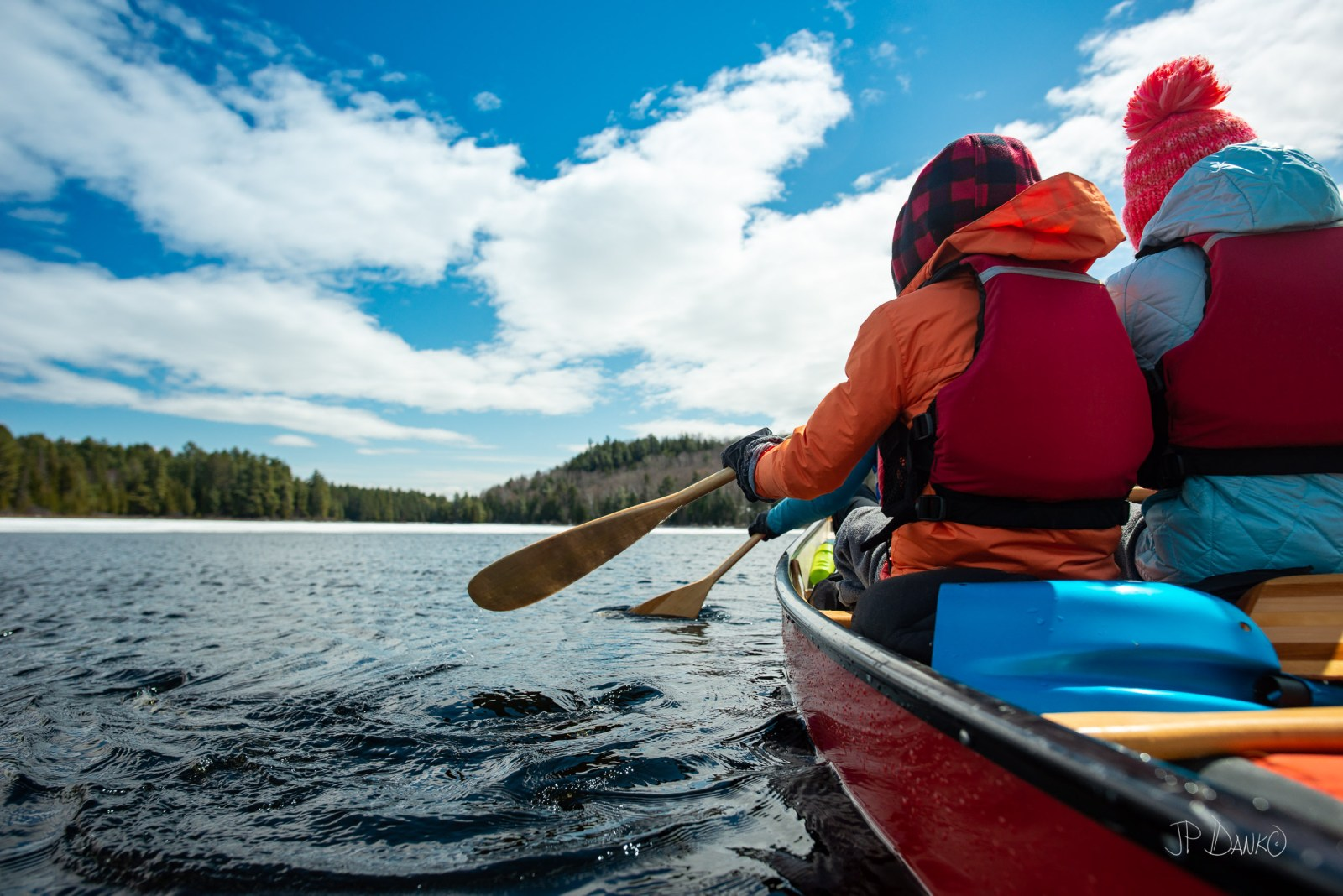Spring Family Paddling Red Canoe Trip Backcountry Wilderness Ice