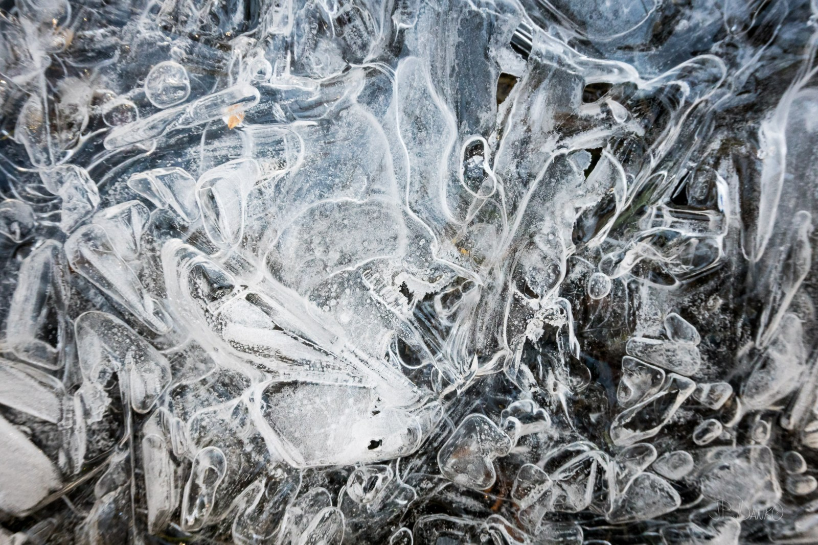 Ice crystals frozen in abstract design in lake warming planet