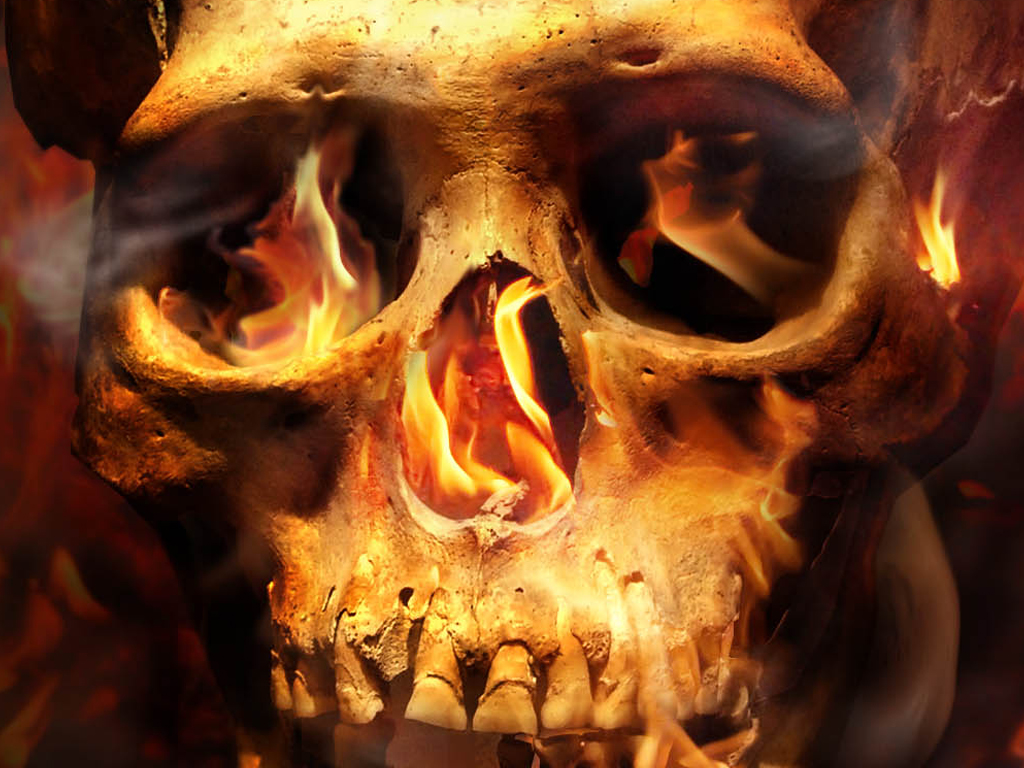 skull on fire