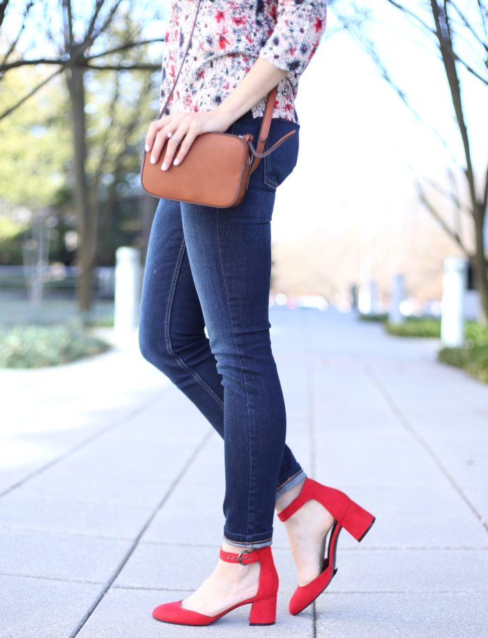 blogger Anna Monteiro of Blushing Rose Style wearing affordable red mary jane shoes from Marks and Spencer