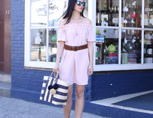 fashion blogger Anna Monteiro of Blushing ROse Style blog wearing MarYSol beach tote from Nordstrom