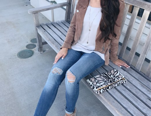 blogger anna monteiro wearing blanknyc suede moto jacket from nordstrom in fall wardrobe update