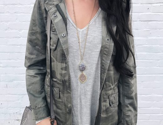 blogger Anna Monteiro of Blushing Rose STyle blog wearing LOFT camouflage jacket from labor day weekend sale round up