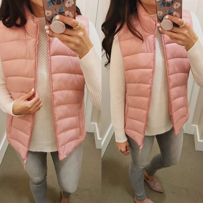 pink puffer vest from LOFT sale