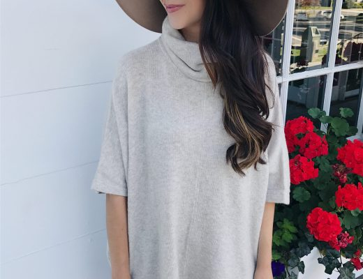 blogger Anna Monteiro of Blushing Rose Style wearing cute fall outfit sweater poncho, floppy hat and ankle brown booties