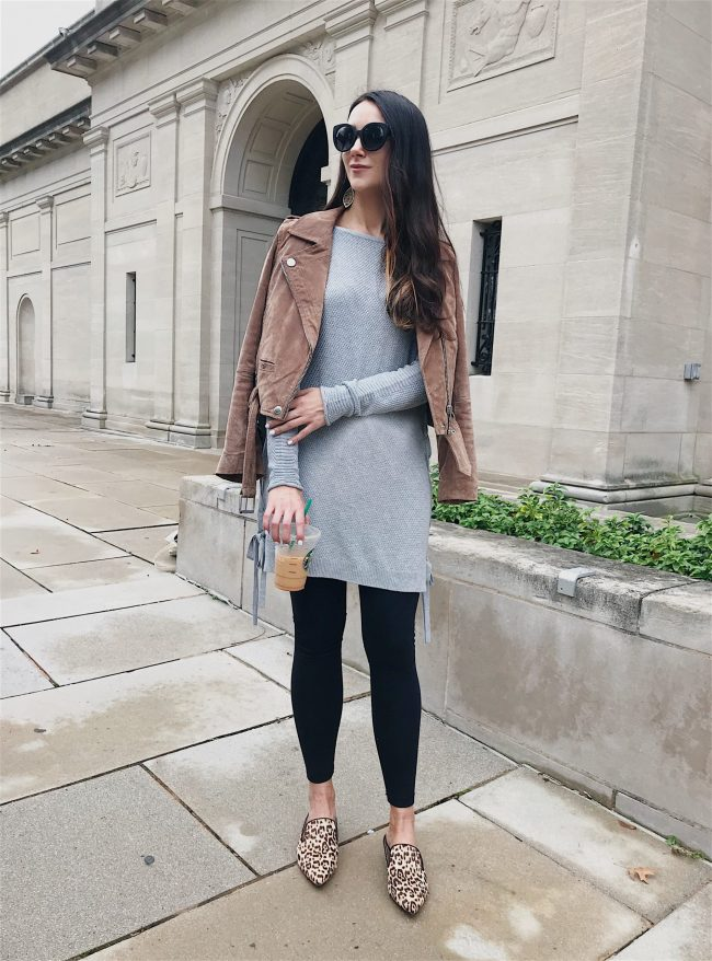 Blushing ROse Style blog wearing grey tunic with leggings and leopard flats in tunic top styled 3 ways