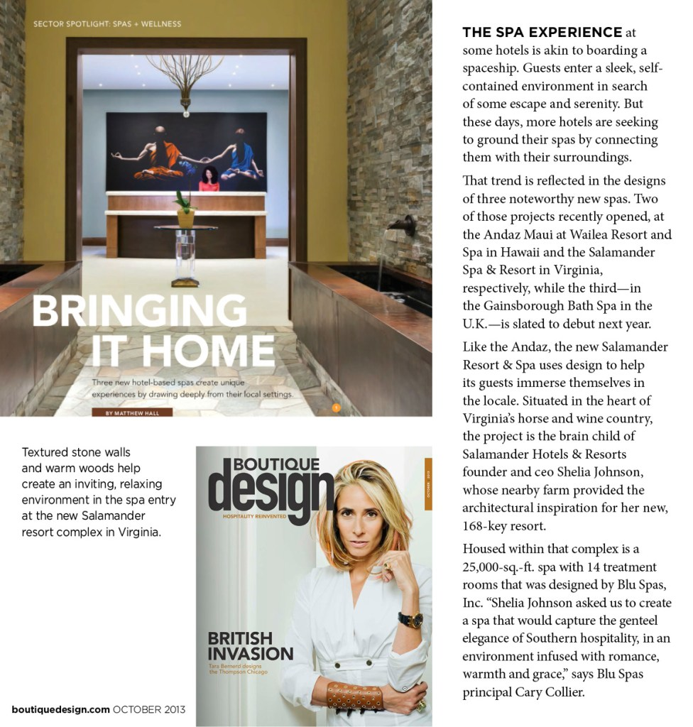 Boutique Design Magazine - Spa Experience