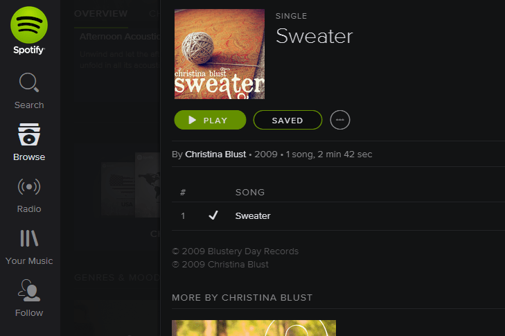 Spotify - Sweater Single